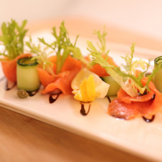 SMOKED SALMON CARPACCIO W/ BALSAMIC